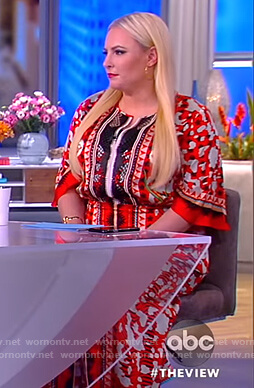 Meghan's red abstract print long sleeve maxi dress on The View