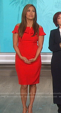 Carrie's red off shoulder dress on The Talk