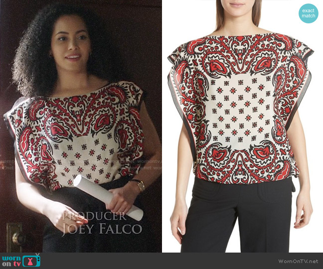RED Valentino Scarf Print Silk Top worn by Macy Vaughn (Madeleine Mantock) on Charmed