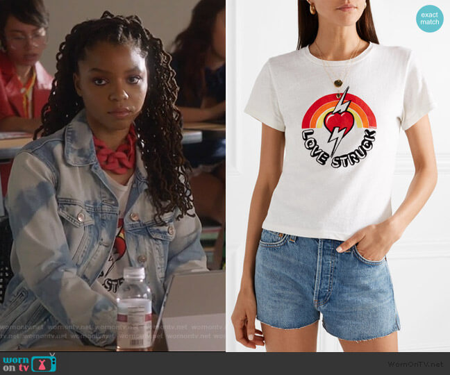 'love Struck' T-shirt by Re/Done worn by Jazlyn Forster (Chloe Bailey) on Grown-ish