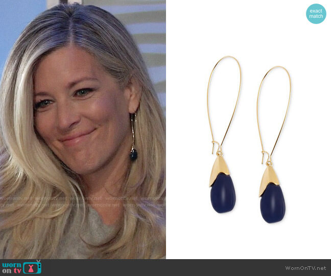 Robert Lee Morris Soho Gold-Tone Blue Oval Bead Drop Earrings worn by Carly Corinthos (Laura Wright) on General Hospital