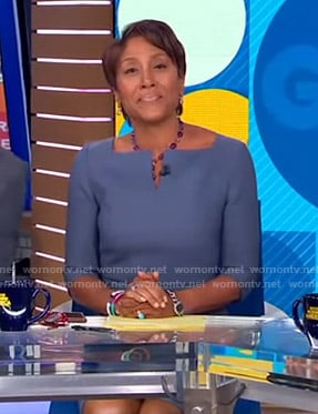 Robin's blue split-neck dress on Good Morning America