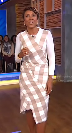 Robin's checked asymmetric dress on Good Morning America