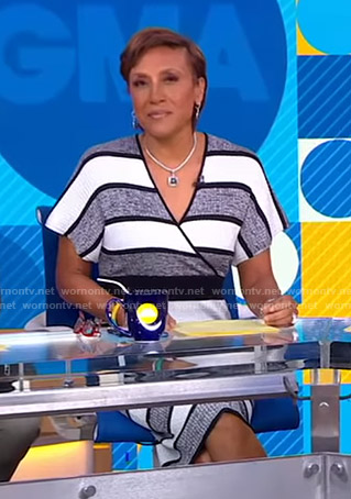 Robin's striped ribbed wrap dress on Good Morning America