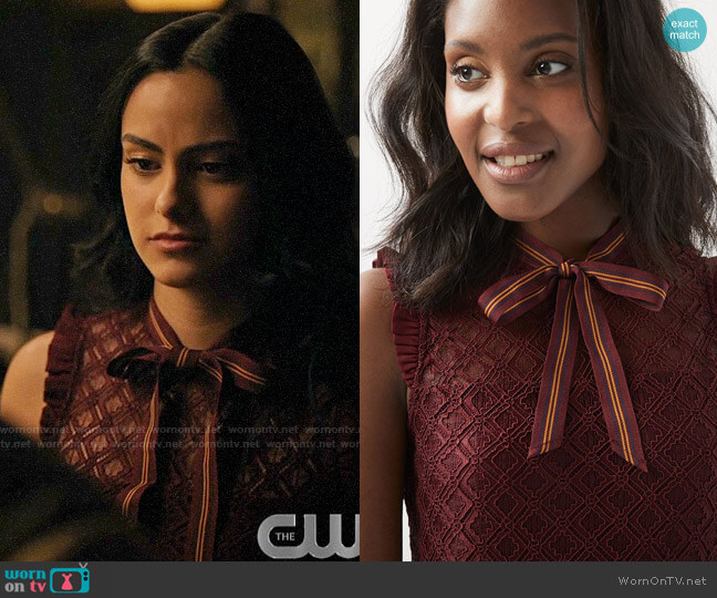 RW&Co Sleeveless Lace Top With Neck Tie worn by Veronica Lodge (Camila Mendes) on Riverdale