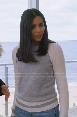 Saanvi's grey colorblock sweater on Manifest