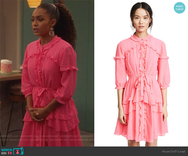Tilly Ruffle Dress by Saloni worn by Zoey Johnson (Yara Shahidi) on Grown-ish