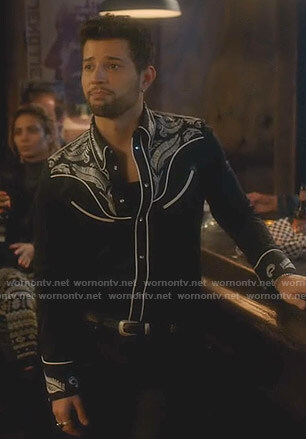 Sam's black embroidered western shirt on Dynasty