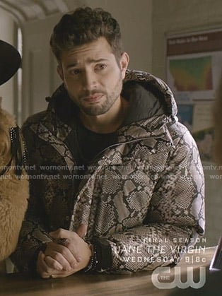 Sam's snake print puffer jacket on Dynasty