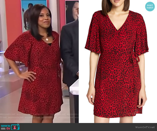 Girl on Fire Leopard Faux Wrap Dress by Sanctuary worn by Sheinelle Jones  on Today