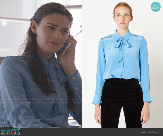 Sandro Silk Shirt with Bow Collar worn by Nia Nal (Nicole Maines) on Supergirl