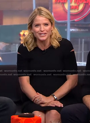 Sara's black cutout sleeve dress on GMA Strahan And Sara