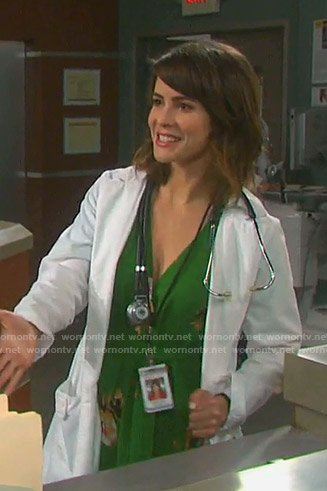 Sarah's green floral dress on Days of our Lives