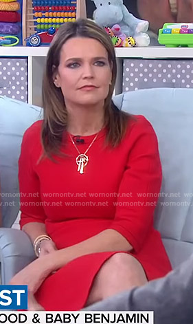 Savannah's red three quarter sleeve dress on Today