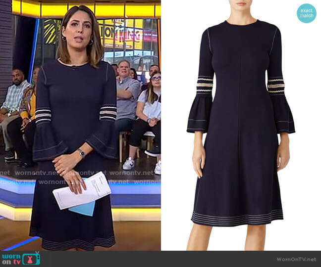 Abyss Blue Jersey Dress by See by Chloe worn by Cecilia Vega  on Good Morning America