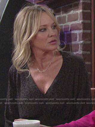 Sharon's black leopard print dress on The Young and the Resltess