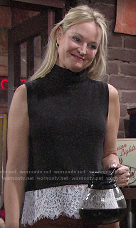 Sharon's lace trim top with lace-up back on The Young and the Restless