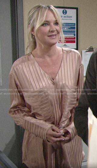 Sharon's beige striped tie-waist tunic on The Young and the Restless