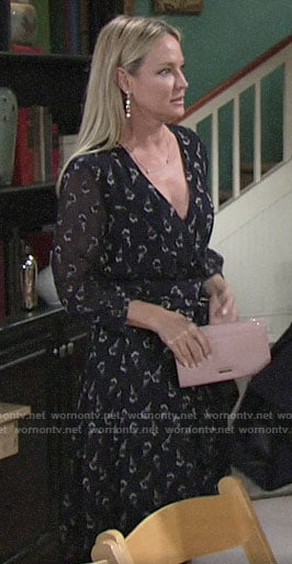 Sharon's floral wrap dress on The Young and the Restless