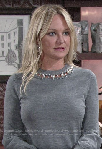 Sharon's grey sweater with pearl neckline on The Young and the Resltess