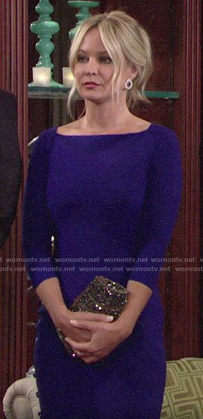 Sharon's blue dress at Mia and Rey's vow renewal on The Young and the Restless