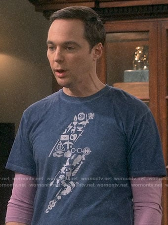 Sheldon's blue Harry Potter lightning bolt icons t-shirt on The Big Bang Theory