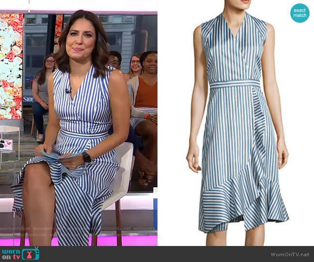 Sleeveless Striped Silk Satin Dress by Carven worn by Cecilia Vega  on Good Morning America