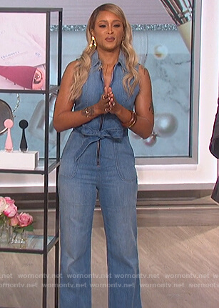 Eve's sleeveless denim jumpsuit on The Talk