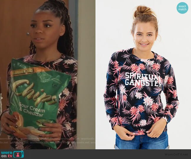 Varsity Old School Pullover by Spiritual Gangster worn by Jazlyn Forster (Chloe Bailey) on Grown-ish