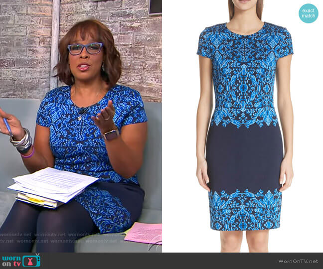 Cool Tones Brocade Knit Dress by St John Collection worn by Gayle King (Gayle King) on CBS This Morning
