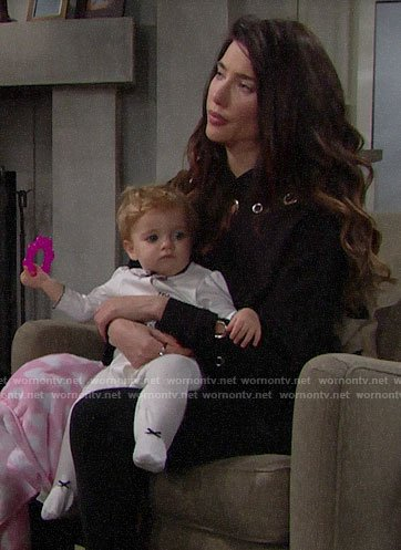 Steffy's black grommet hoodie on The Bold and the Beautiful
