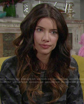 Steffy's grey camo sweatshirt on The Bold and the Beautiful
