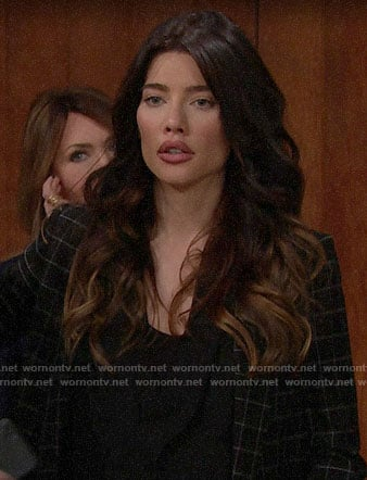 Steffy's black checked blazer on The Bold and the Beautiful