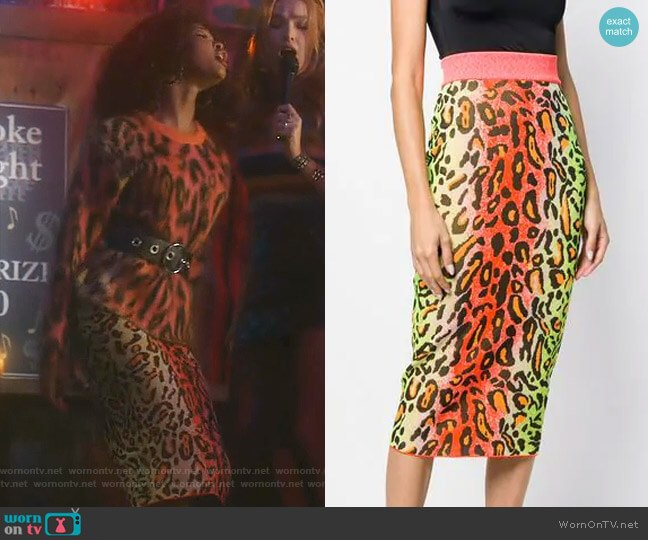 Leopard Print Skirt by Stella McCartney worn by Monica Colby (Wakeema Hollis) on Dynasty