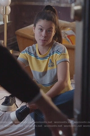 Mariana's striped Atari top on Good Trouble