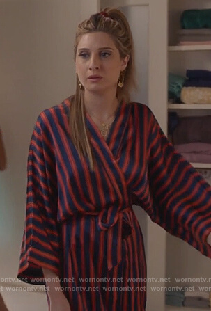 Nomi's satin striped robe on Grown-ish