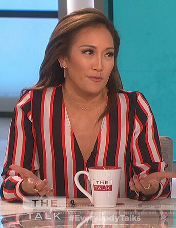 Carrie's striped wrap top on The Talk