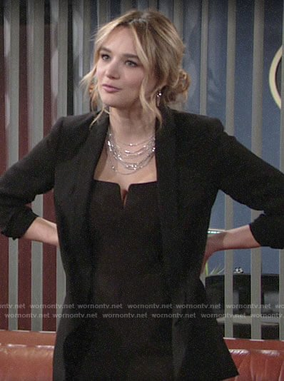 Summer's black notched neck jumpsuit on The Young and the Restless