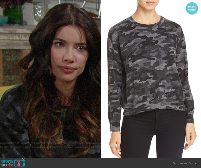Sundry Camo Sweatshirt worn by Steffy Forrester (Jacqueline MacInnes Wood) on The Bold & the Beautiful