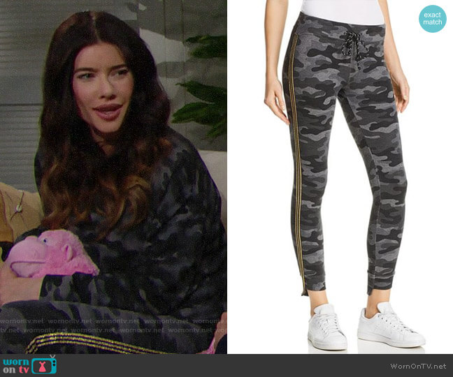Sundry Track Stripe Camo Sweatpants worn by Steffy Forrester (Jacqueline MacInnes Wood) on The Bold & the Beautiful