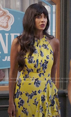 Tahani's yellow floral ruffled maxi dress on The Good Place