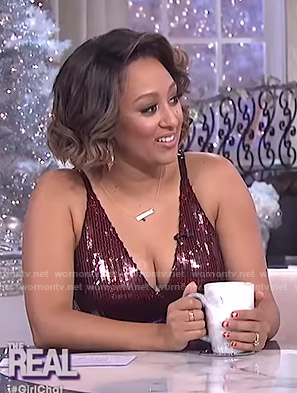 Tamera's sequin fringed dress on The Real