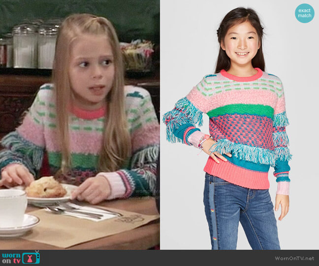 Target Cat & Jack Fringe Pullover Sweater worn by Charlotte Cassadine (Scarlett Fernandez) on General Hospital