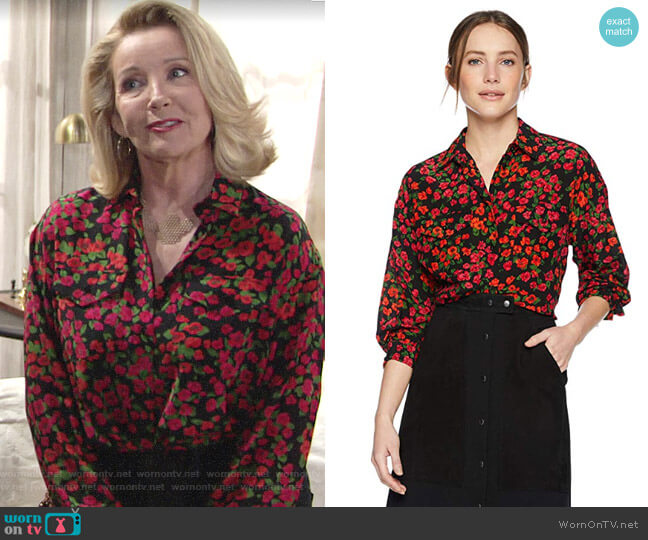 The Kooples Camellia Blouse worn by Nikki Reed Newman (Melody Thomas-Scott) on The Young & the Restless