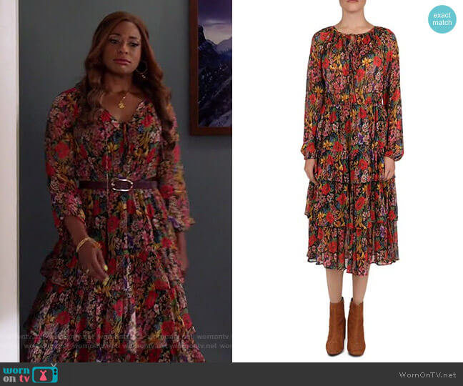 Floral Tiered Peasant Dress by The Kooples worn by Poppy (Kimrie Lewis) on Single Parents