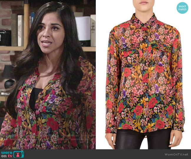 The Kooples Cocktail Flowers Shirt worn by Mia Rosales (Noemi Gonzalez) on The Young & the Restless