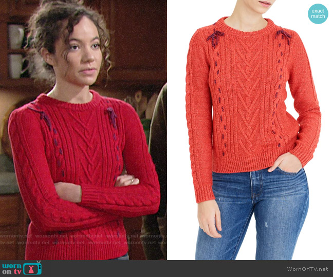 The Reeds X J.Crew Cable Knit Sweater worn by Mattie Ashby (Lexie Stevenson) on The Young & the Restless