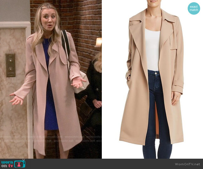 Theory Oaklane Admiral Crepe Trench Coat worn by Penny Hofstadter (Kaley Cuoco) on The Big Bang Theory