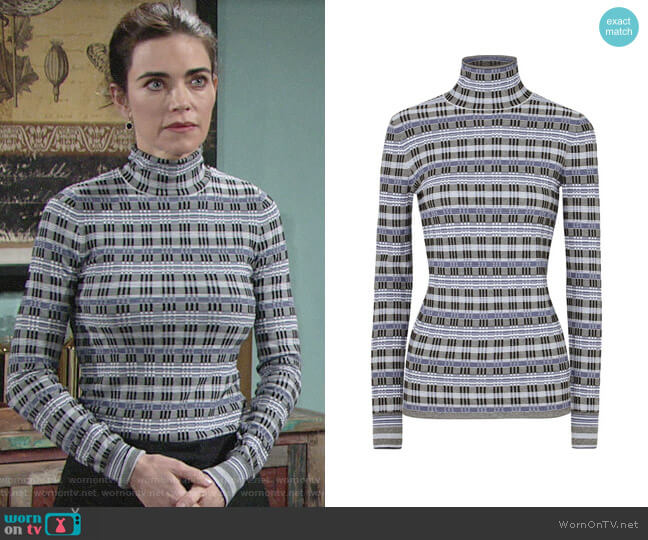 Theory Checked Jacquard-knit Turtleneck Sweater worn by Victoria Newman (Amelia Heinle) on The Young & the Restless