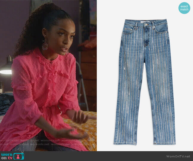 All Over Diamante Straight Leg Jeans by Topshop worn by Zoey Johnson (Yara Shahidi) on Grown-ish